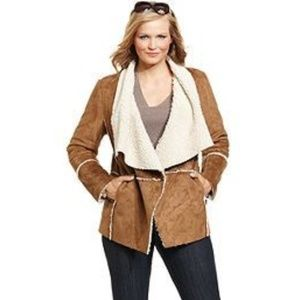 MICHAEL KORS Vegan Suede and Faux Shearling Jacket